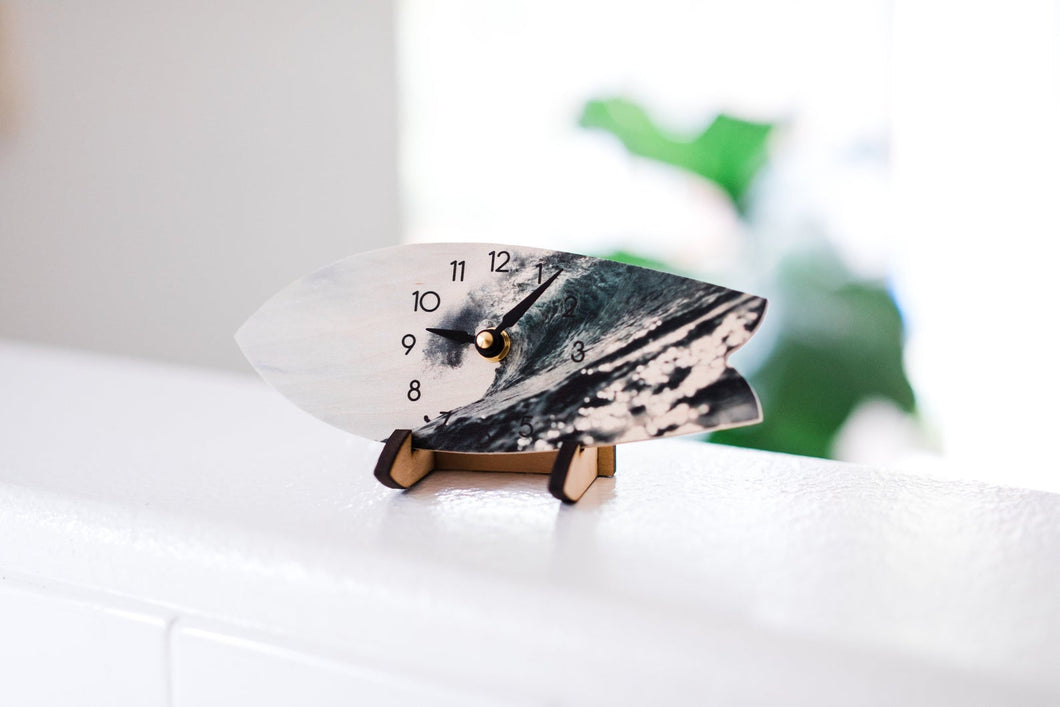 Wave Surfboard Table Clock with Stand