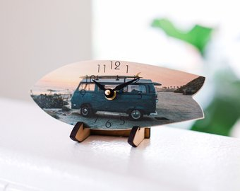 Bus Surfboard Table Clock with Stand  - Timber Wave