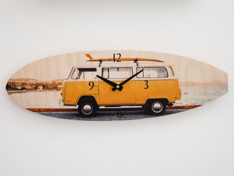 Yellow Bus Surfboard Wall Clock  - Timber Wave
