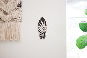 Palm Leaf Surfboard Wall Clock  - Timber Wave