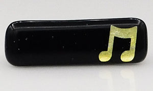 Black and Gold Music Scarf Magnet | Lapel Pin