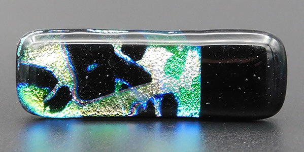 Black, Gold and Green Abstract Dichroic Fused Glass Scarf Magnet | Lapel Pin | Brooch