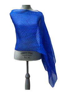 Flowing Bright Blue Silk Poncho