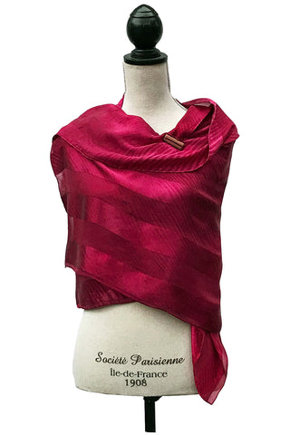 Exquisite Bordeaux Silk Wrap-Poncho