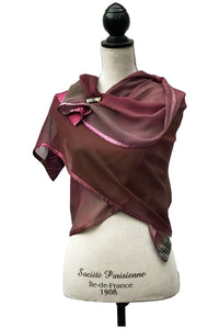Refined Bordeaux and Green Silk Wrap-Poncho