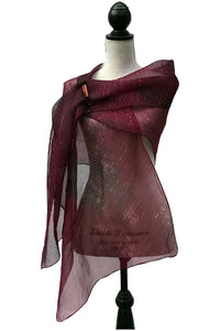 Sweeping Burgundy and Green Silk Wrap-Poncho