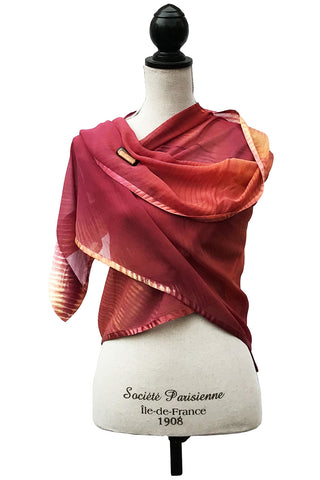 Elegant Bordeaux and Yellow Silk Wrap-Poncho