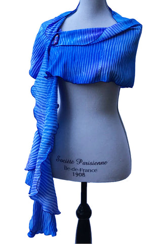 Winsome Blue and Purple Silk Cascading Circular Wrap | Shawl