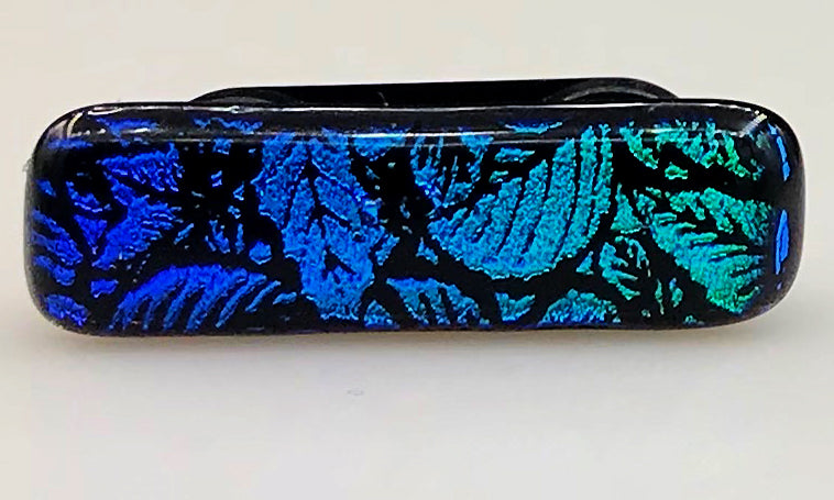Blue, Green and Black Patterned Dichroic Scarf Magnet