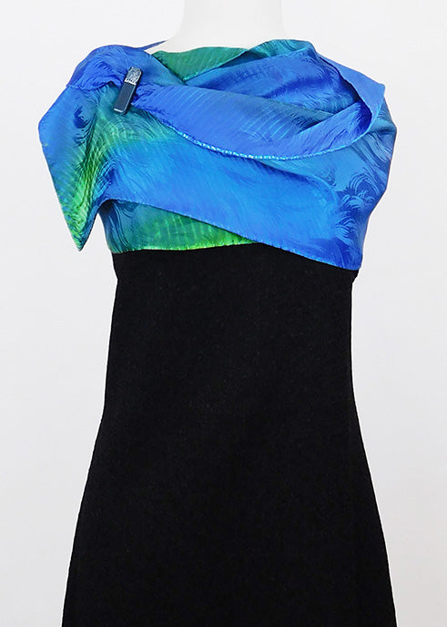 Chic Blue and Green Jacquard Silk Wrap