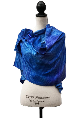 Luxurious Blue Silk Wrap-Poncho