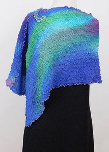 Vibrant Blue and Green Bubble Silk Poncho