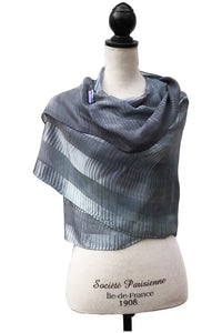 Graceful Blue and Grey Silk Wrap | Shawl