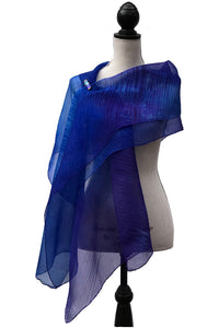 Blissful Blue and Purple Silk Wrap-Poncho