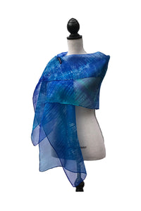 Opulent Blue and Sea Green Silk Wrap | Shawl
