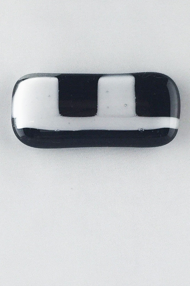 Rectangle Black And White Glass Magnet