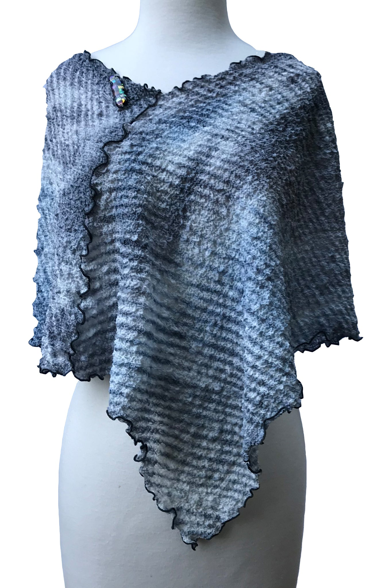 Eye-Catching Gray, Black And White Versatile Silk Poncho