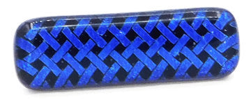 Blue-Black Lattice Dichroic Fused Glass Scarf Magnet | Lapel Pin | Brooch