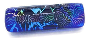 Blue & Multicolor Pattern Dichroic Fused Glass Scarf Magnet | Lapel Pin | Brooch