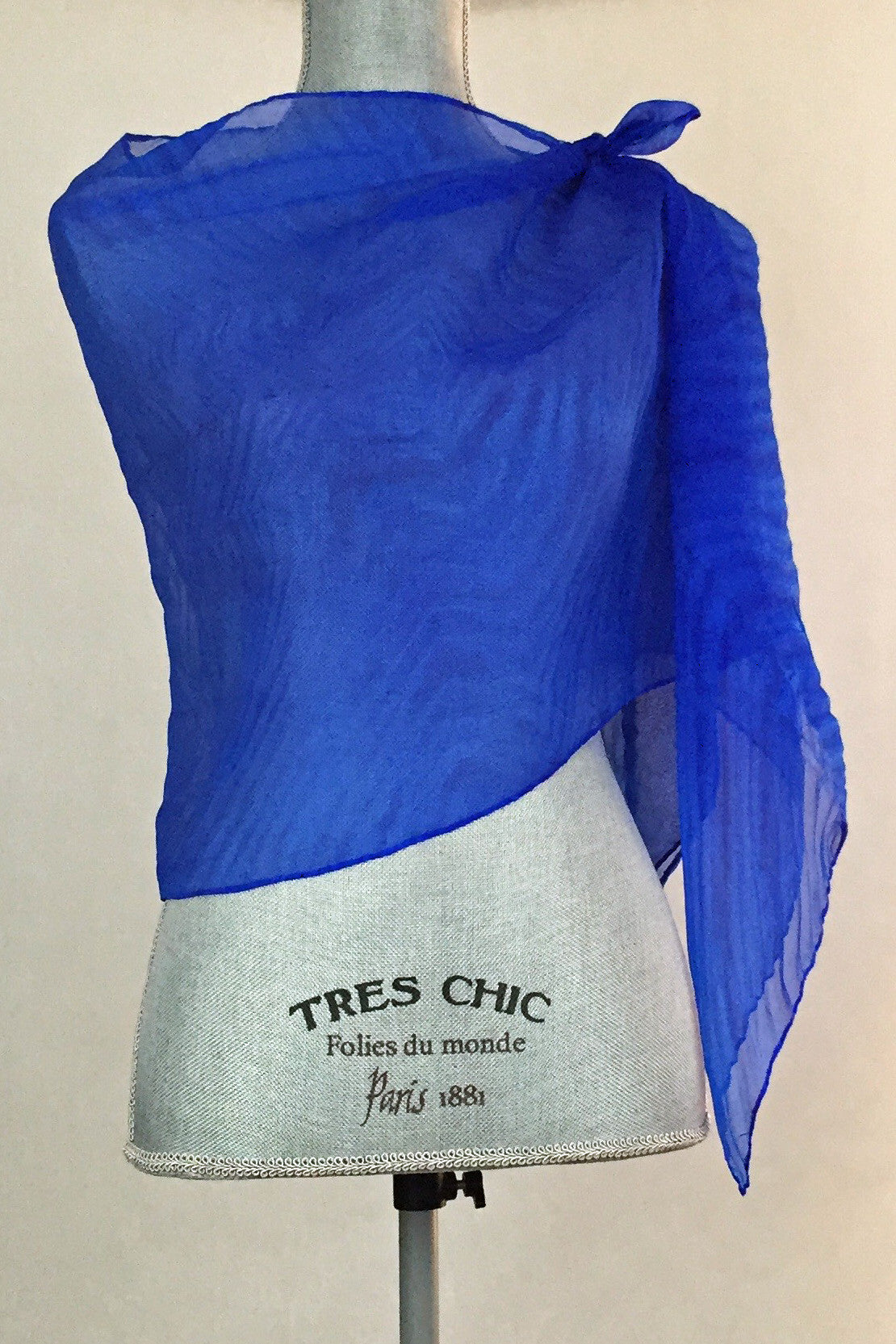 Electrifying Bright Blue Silk Wrap-Poncho