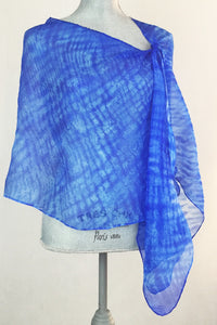 Bright And Light Blue Silk Wrap-Poncho