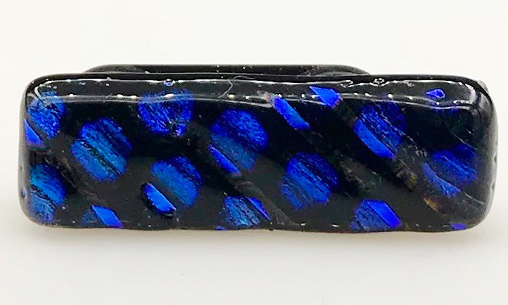 Black and Electric Blue Dotted Dichroic Scarf Magnet | Lapel Pin