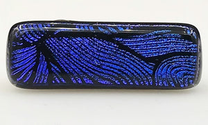 Electric Blue and Black Patterned Dichroic Scarf Magnet | Lapel Pins