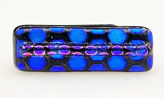 Black, Electric Blue and Pink Dotted Dichroic Scarf Magnet | Lapel PIn