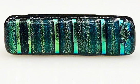 Green and Black Striped Dichroic Scarf Magnet