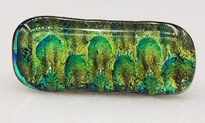 Green and Blue Peacock Dichroic Scarf Magnet | Lapel Pin