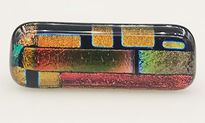 Green, Orange and Red Multicolor Dichroic Scarf Magnet | Lapel Pin