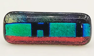Green and Red Multicolor Dichroic Scarf Magnet | Lapel Pin