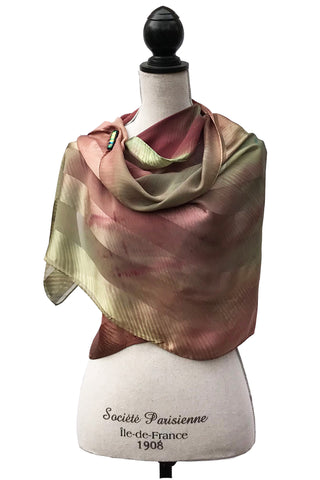 Refined Green and Bordeaux Silk Wrap | Shawl