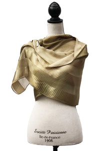 Serene Green and Gold Silk Wrap | Shawl