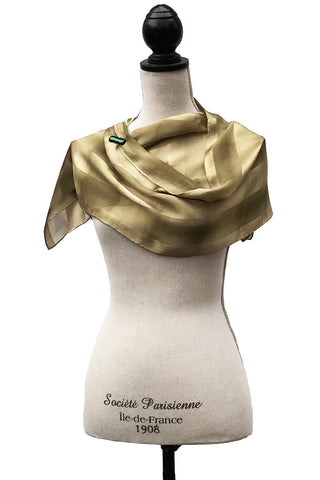 Soothing Green and Gold Silk Scarf