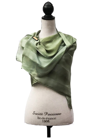 Refined Green and Grey Silk Wrap | Shawl