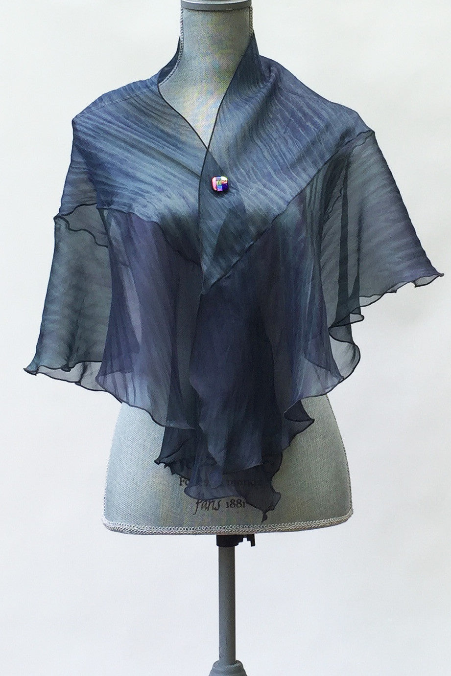 Elegant Silk Green-Black Wrap | Shawl