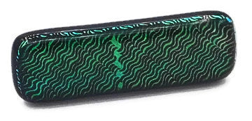 Green & Black Wave Dichroic Fused Glass Scarf Magnet | Lapel Pin