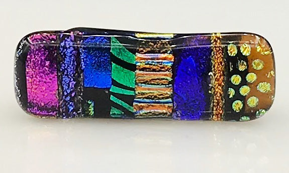 Magenta, Blue and Multicolor Dichroic Scarf Magnet | Lapel Pin