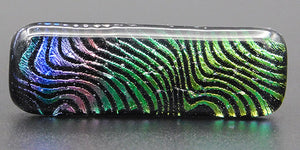 Multicolor Green, Gold, Pink Dichroic Fused Glass Scarf Magnet | Lapel Pin | Brooch