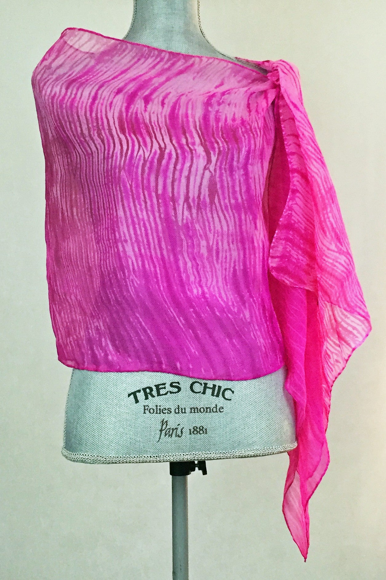 Arresting Magenta and Pink Silk Wrap-Poncho