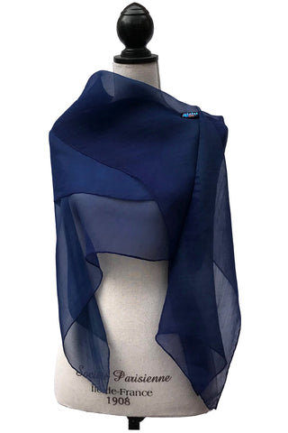 Enchanting Navy Blue Silk Wrap | Shawl