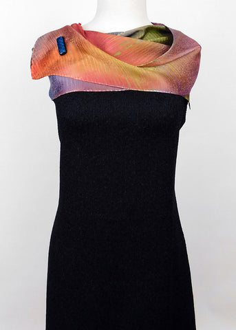 Hypnotizing Orange, Magenta, Green Silk Jacquard Scarf
