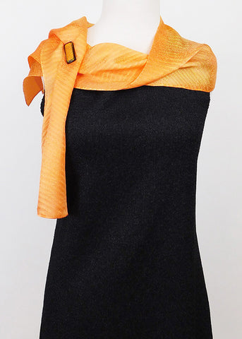 Joyful Orange Silk Jacquard Scarf