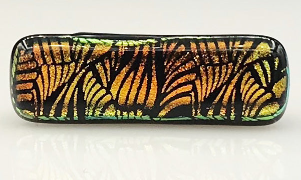 Orange, Yellow and Black Patterned Dichroic Scarf Magnet | Lapel Pin