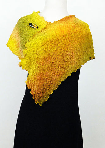 Knockout Orange, Yellow, and Green Bubble Silk Poncho