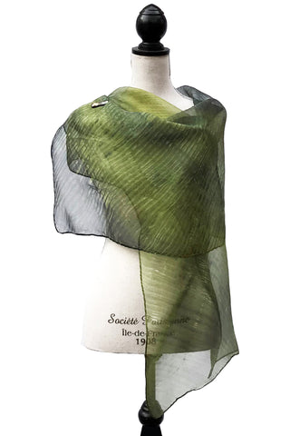 Resplendent Olive and Blue Grey Silk Wrap | Shawl