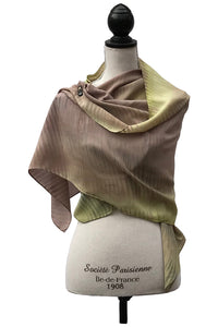 Elegant Olive and Brown Silk Wrap | Shawl