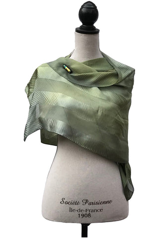 Vibrant Olive and Gray Silk Wrap | Shawl
