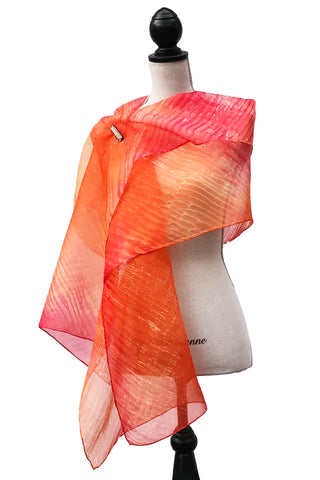 Smashing Orange and Red Silk Wrap | Shawl
